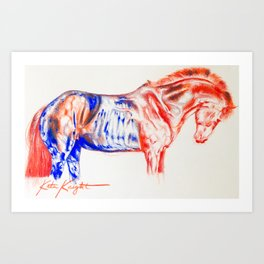 Red and Blue Horse Art Print