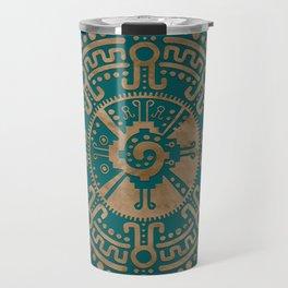 Golden Embossed Hunab Ku Mayan symbol Travel Mug