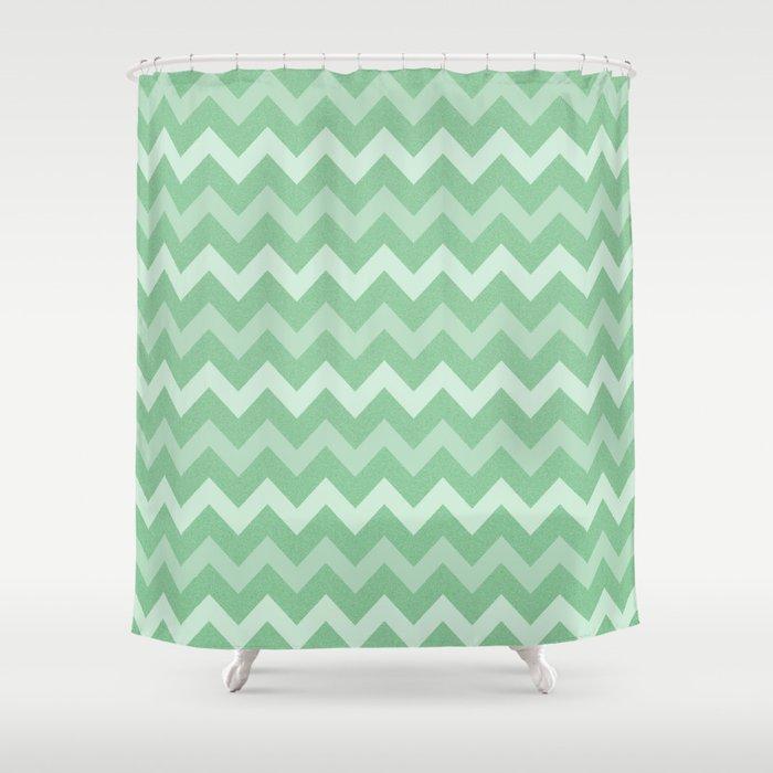 Mint Green Glitter Chevron - by Rui & Cheryl Shower Curtain