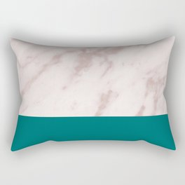 Real Rose Gold Marble and Biscay Bay Rectangular Pillow