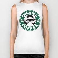 ohana Biker Tanks featuring Ohana Coffee by Ellador