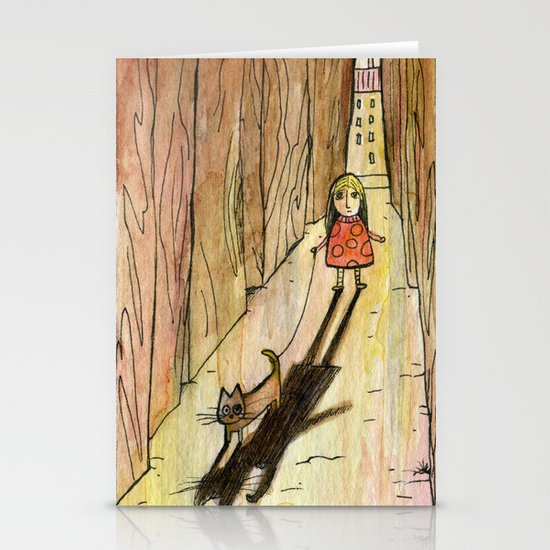 walking the cat Stationery Cards