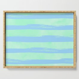 Trendy Stripes Blue Raspberry + Mint Meringue Serving Tray