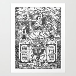 Legend of Zelda - The Three Goddesses of Hyrule Geek Line Artly Art Print