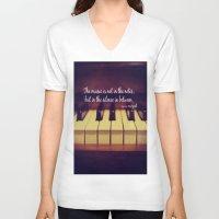 mozart V-neck T-shirts featuring Mozart Music by KimberosePhotography