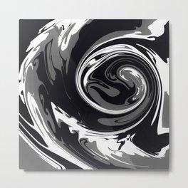HURRICANE black white and grey swirl abstract design Metal Print