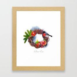 Winter Christmas Wreath 01 Framed Art Print