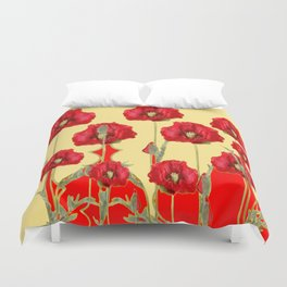 RED POPPIES ON CREAM ART NOUVEAU DESIGN Duvet Cover