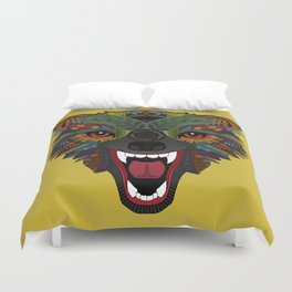 wolf fight flight ochre Duvet Cover