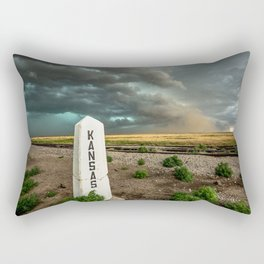 Welcome to Kansas - Railroad Sign and Storm Rectangular Pillow