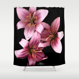 Pretty Pink Ant Lilies, Flowers Scanography Shower Curtain