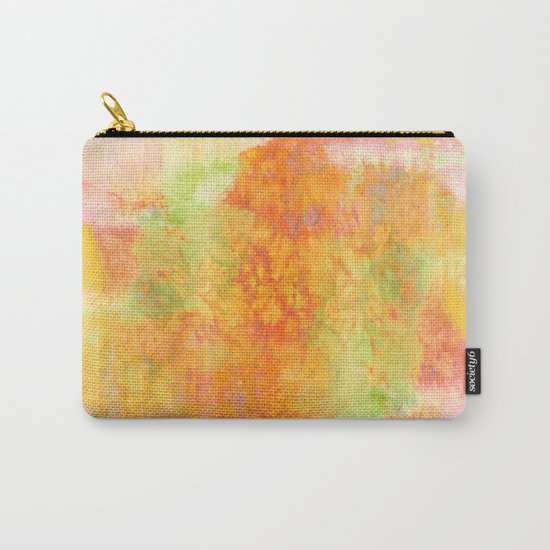 PASTEL IMAGININGS 3 Colorful Pretty Spring Summer Orange Yellow Peach Abstract Watercolor Painting Carry-All Pouch