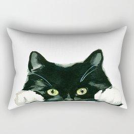 Black cat watching at you Rectangular Pillow