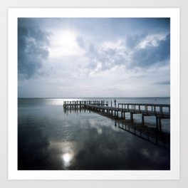 Dreamy Evening Reflection on the Dock in Duck, NC - Film Photograph Art Print