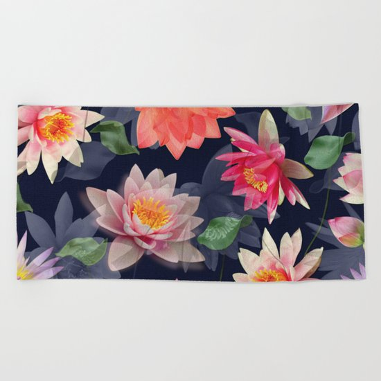 Lotus Flower Pattern #2 Beach Towel