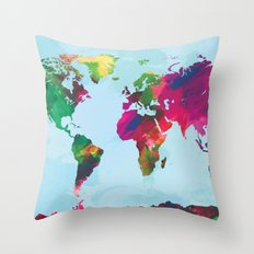 Watercolor World Map Throw Pillow