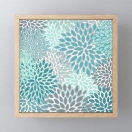 Festive, Modern, Floral Prints, Teal and Gray Framed Mini Art Print