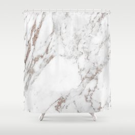 Rose gold shimmer vein marble Shower Curtain