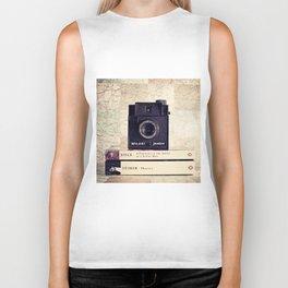 Vintage black camera and Joyce and Dracula books on Map pattern background  Biker Tank