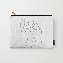 Hands line drawing illustration - Elsa Carry-All Pouch