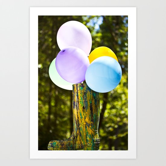 Boot And Balloons Art Print