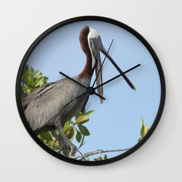 pelican on the tree Wall Clock