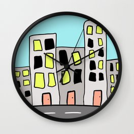 City Skyline Along the Road Drawing Wall Clock