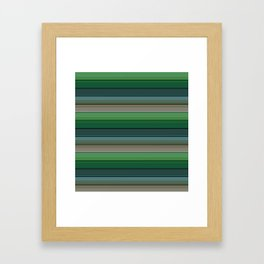 Striped green-gray pattern Framed Art Print