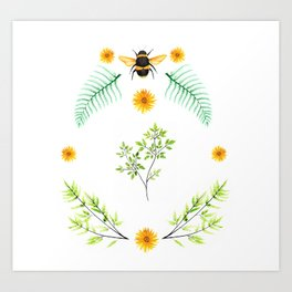 Bees in the Garden v.2 - Watercolor Graphic Art Print