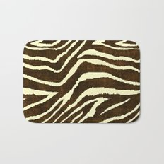 Animal Print Zebra in Winter Brown and Beige Bath Mat