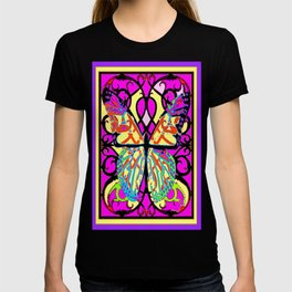 Geometric Fuchsia-Yellow Patterned Butterfly Black  Design T-shirt