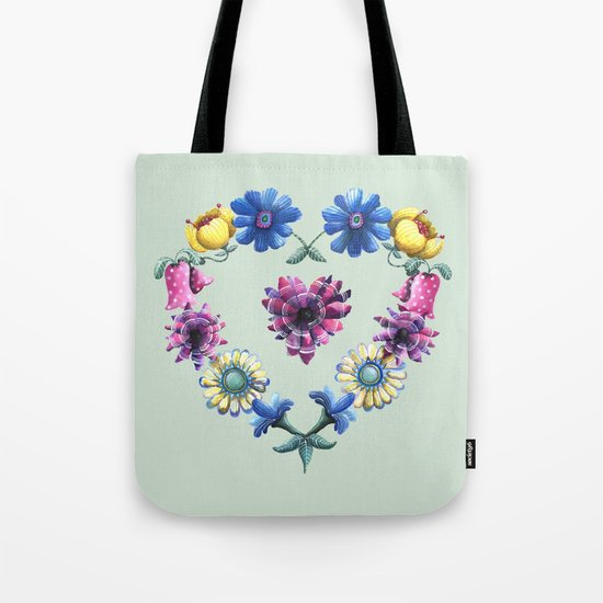 Lovely Flowers Green Tote Bag