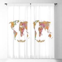 World Map Watercolor Art Print 03 Blackout Curtain