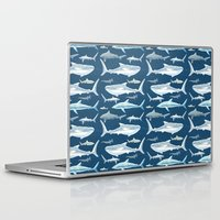 sharks Laptop & iPad Skins featuring Sharks by Miranda Montes