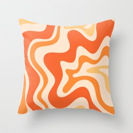 Tangerine Liquid Swirl Retro Abstract Pattern Throw Pillow