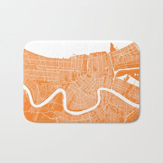 New Orleans map orange Bath Mat