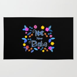 Bright Floral 'Not Your Babe' print Rug
