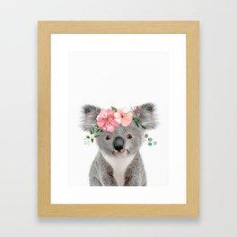 Baby Koala with Flower Crown Framed Art Print