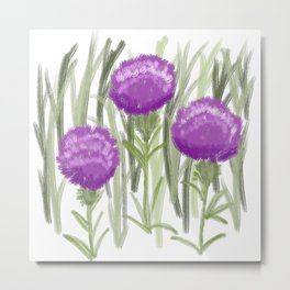 Purple Thistle Growing in the Fields Metal Print
