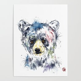 Baby Black Bear Watercolor Painting Poster