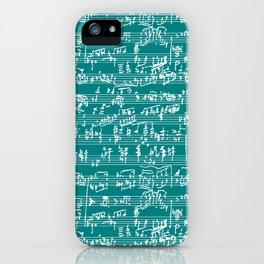 Hand Written Sheet Music // Teal iPhone Case