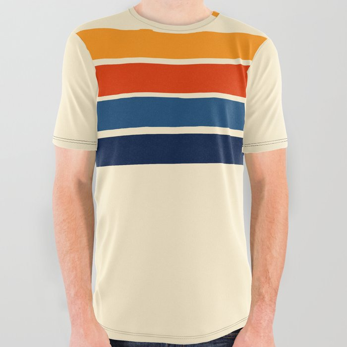 Classic Retro Stripes All Over Graphic Tee