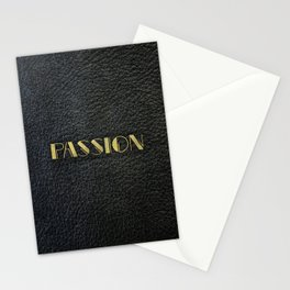PASSION - black leather gold letters Stationery Cards