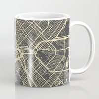 dallas Mugs featuring Dallas map by Map Map Maps
