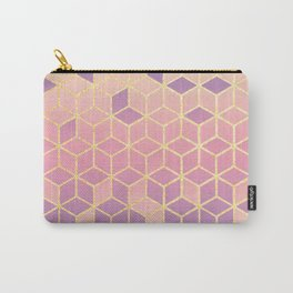 Geometry Cube Gold and Purple Gradient Carry-All Pouch