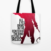 britney Tote Bags featuring Britney Circus by Tadeu Marques