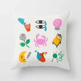 Cancer Emoji Throw Pillow