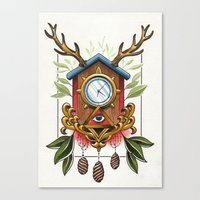 wall clock Canvas Prints featuring Clock-wall by Kaifa studio