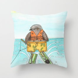 Waterskiing Mockingbird, sweet bird on water skiis Throw Pillow