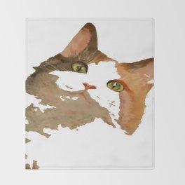 I'm All Ears - Cute Calico Cat Portrait Throw Blanket
